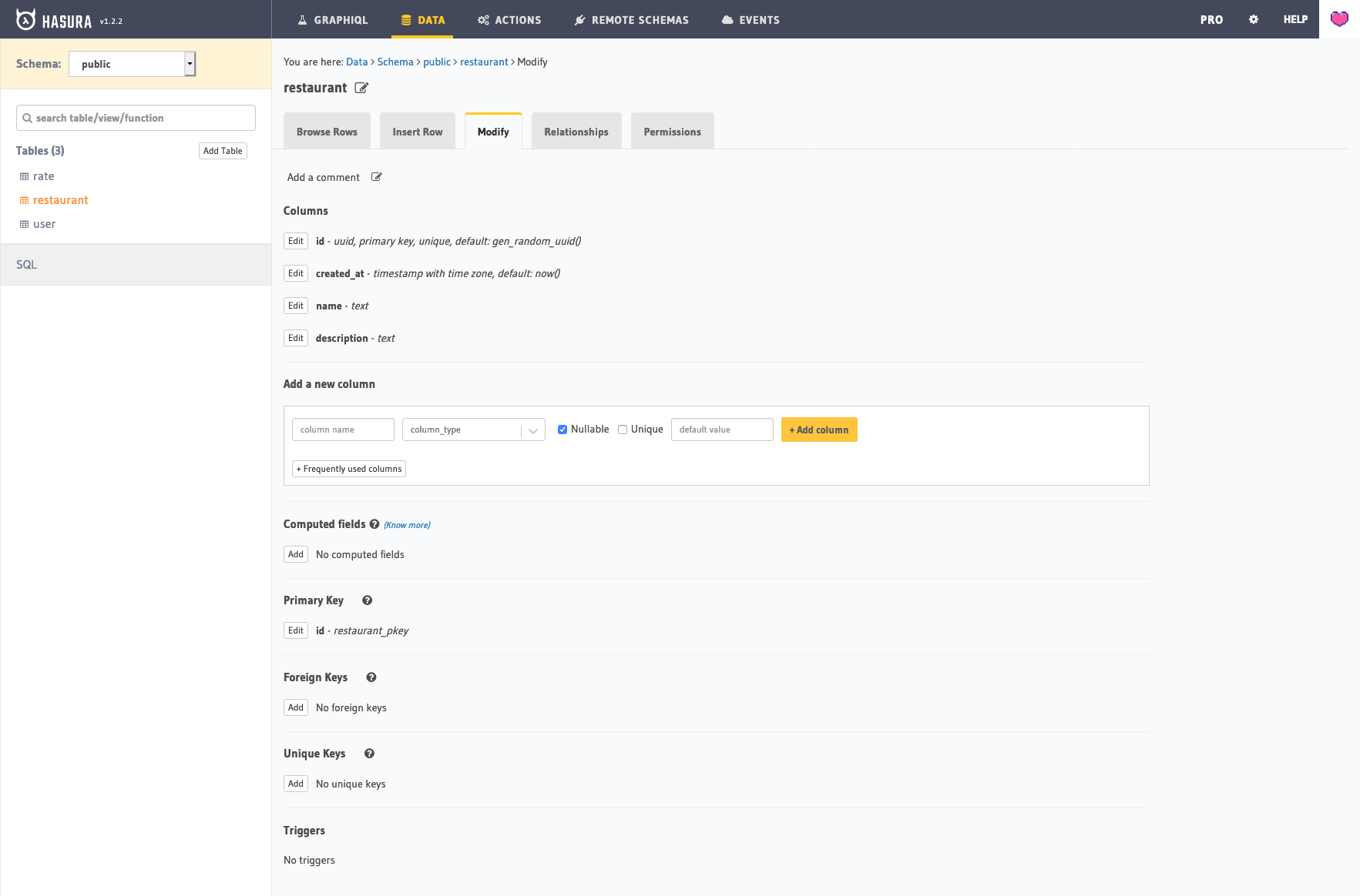Hasura web interface to configure the data model